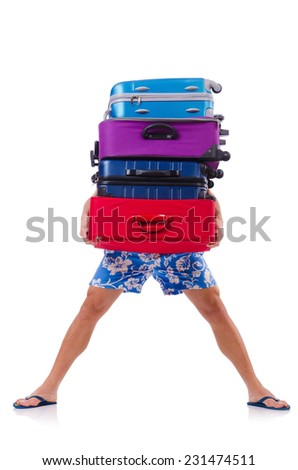 Man travelling with suitcases isolated on white - stock photo