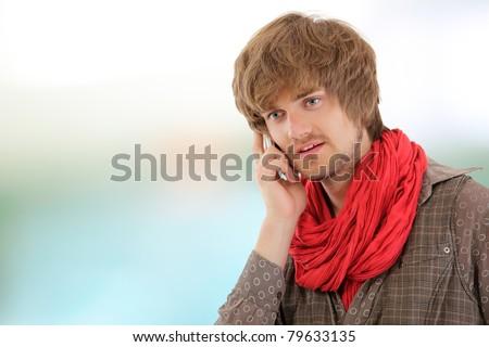 man trendy handsome gay calling phone - stock photo
