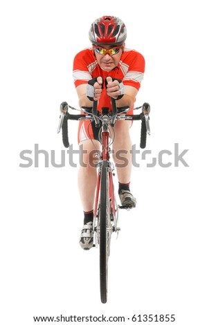 Man triathlon athlete with racing bike isolated on white background.