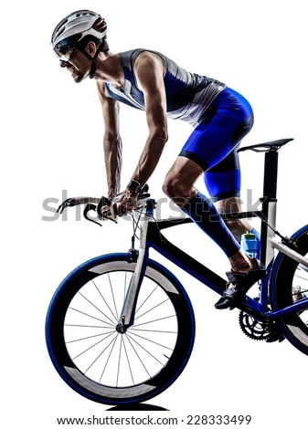 man triathlon iron man athlete biker cyclist bicycling biking in silhouette on white background - stock photo