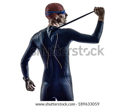 man triathlon iron man athlete swimmers portrait in silhouettes on white background - stock photo