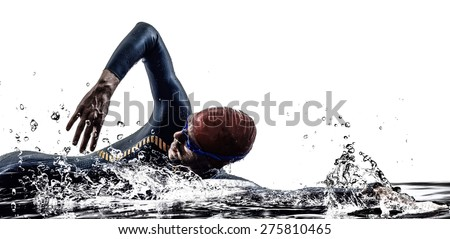 man triathlon iron man athlete swimmers swimming in silhouette on white background - stock photo