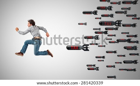 man try to escape from tax - stock photo
