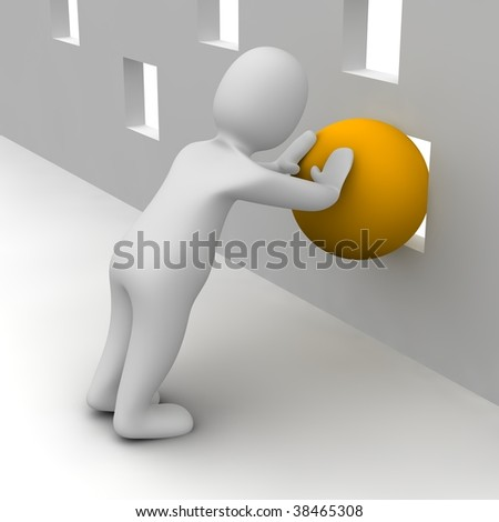 Man trying push orange ball through small hole. 3d rendered illustration. - stock photo