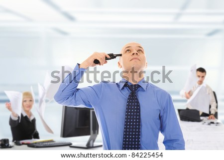 man trying to suicide. Isolated on white background - stock photo