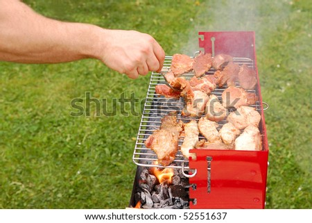 Man turning meat on a barbecue grill with green grass - stock photo