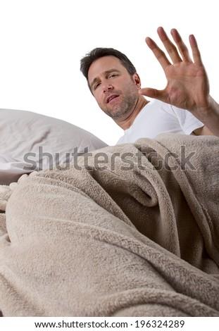 man unable to sleep because of loud noise - stock photo