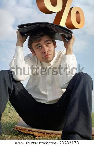 man under percent pressure - stock photo
