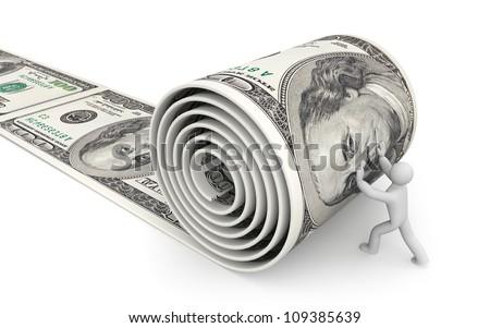 Man unreel a roll of dollars - stock photo