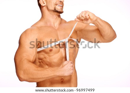 Man use measurement tape - stock photo