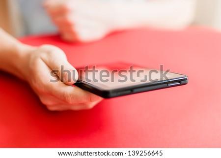 Man uses a digital tablet - stock photo
