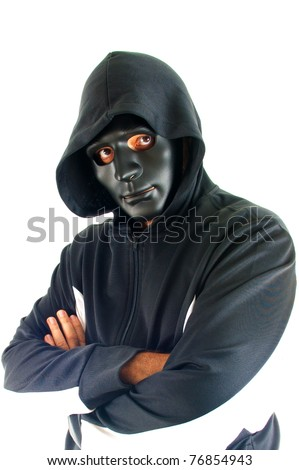 man using an mask covering his face . - stock photo