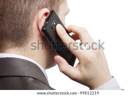 man using cellphone - stock photo