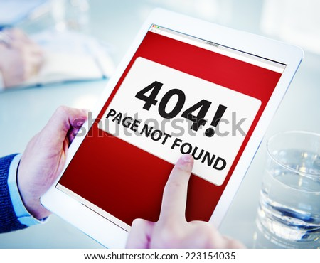 Man Using Digital Tablet Page Not Found - stock photo