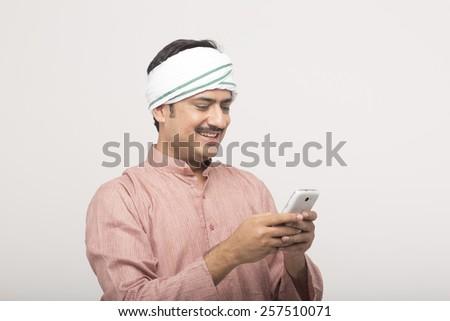 Man using mobile - stock photo