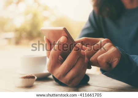 man using mobile smart phone - stock photo
