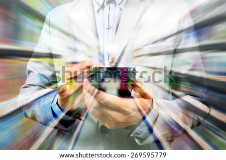 Man using mobile smart phone on super market background as Double Exposure present online shopping - stock photo