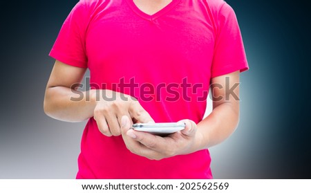 Man Using Mobile,Smartphone Series.Blank Version For More Text And Ideas - stock photo