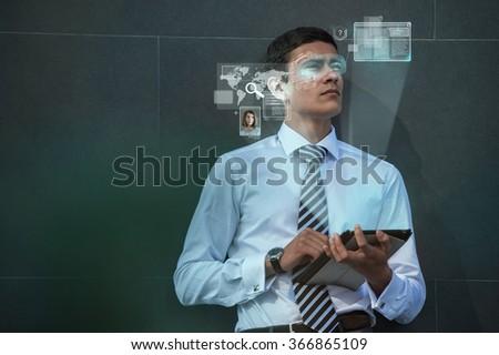 Man using modern computing technology  - stock photo