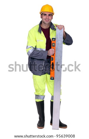 Man using spirit-level