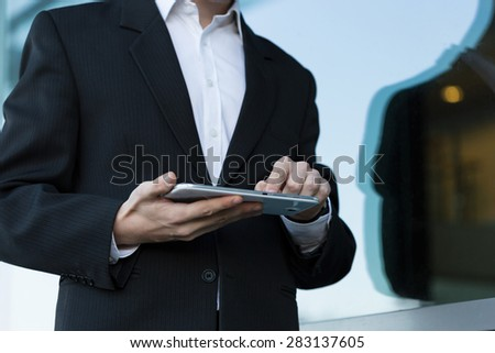 Man using tablet during break at work