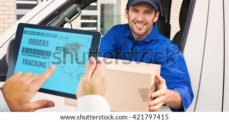 Man using tablet pc against delivery driver offering parcel from his van - stock photo