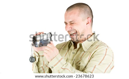 Man using video camera (camcorder), isolated on white background - stock photo