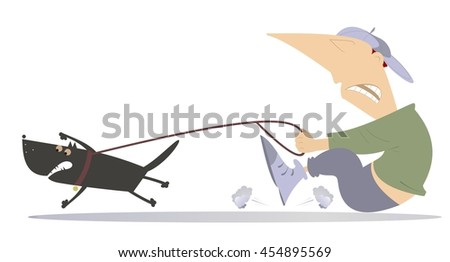 Man walking a dog. Man is trying to stop an angry dog  - stock photo