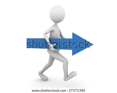 Man walking forward with blue arrow - stock photo
