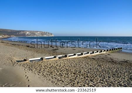 Man walking his dog along a deserted beach - stock photo