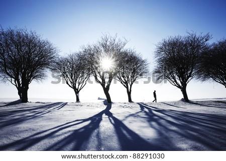 Man walking in snow in winter landscape - stock photo