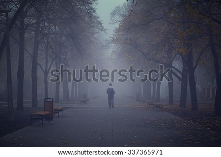 Man walking in the mystic foggy park