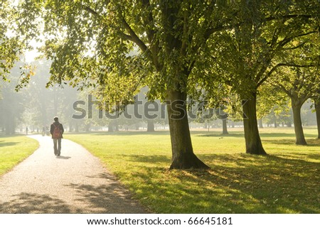 man walking in the park - stock photo