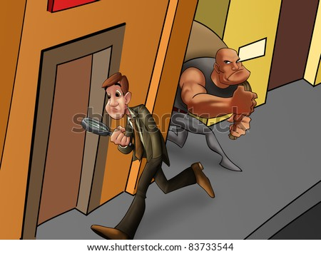 man walking in the street looking for some thing and a thief - stock photo