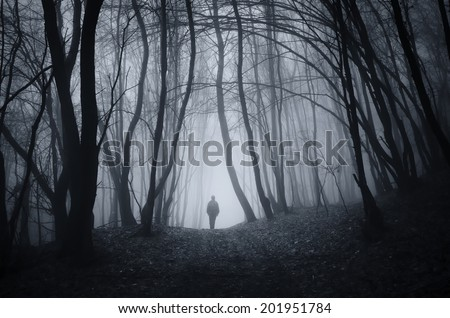 man walking on a dark path through a spooky forest
