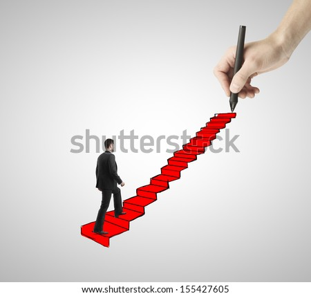 man walking on drawing ladder with red carpet - stock photo