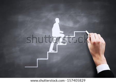 man walking on drawing stairs