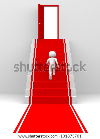 Man walking on the stairs - 3d render illustration