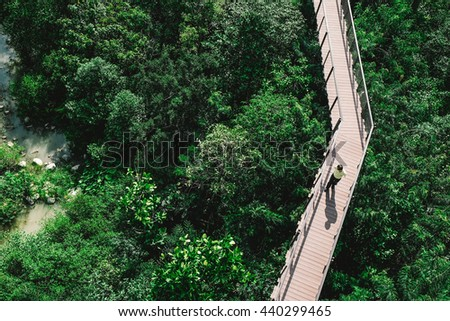 Man walking on the wood bridge in the forest. Top view. Image is vintage effect and low light photo.