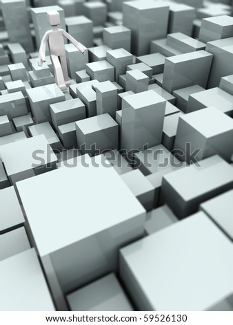 Man walking on uneven blocks overcome of difficulty concept 3d illustration - stock photo