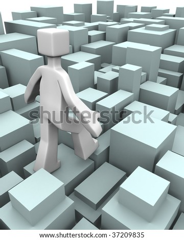 Man walking through uneven bricks blocks to overcome of difficulty concept 3d illustration - stock photo