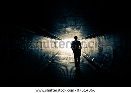 Man walking to the light