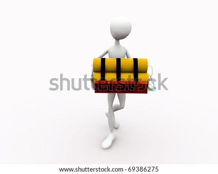 man walking with a  yellow bomb isolated on white background