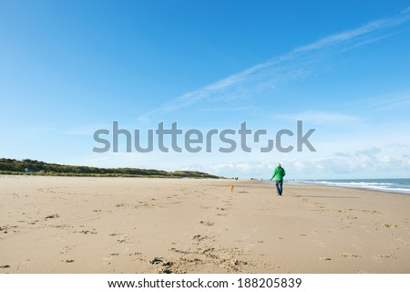 Man walking with dog at the beach in Dutch Renesse - stock photo