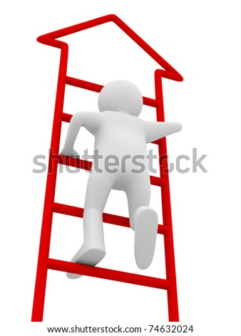 man walks upstairs on white background. Isolated 3D image - stock photo