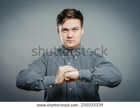 man wants to hit - stock photo