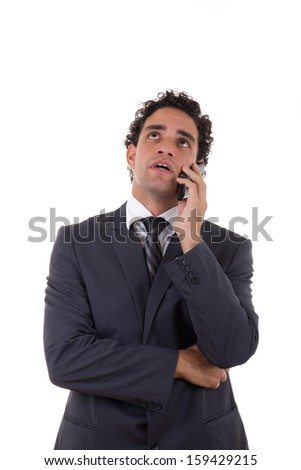man was fired and finds out through mobile - stock photo