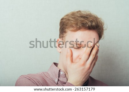 man was very tired at the office work - stock photo