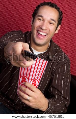 Man Watching TV - stock photo