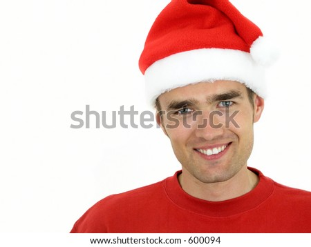 Man wearing a Christmas hat